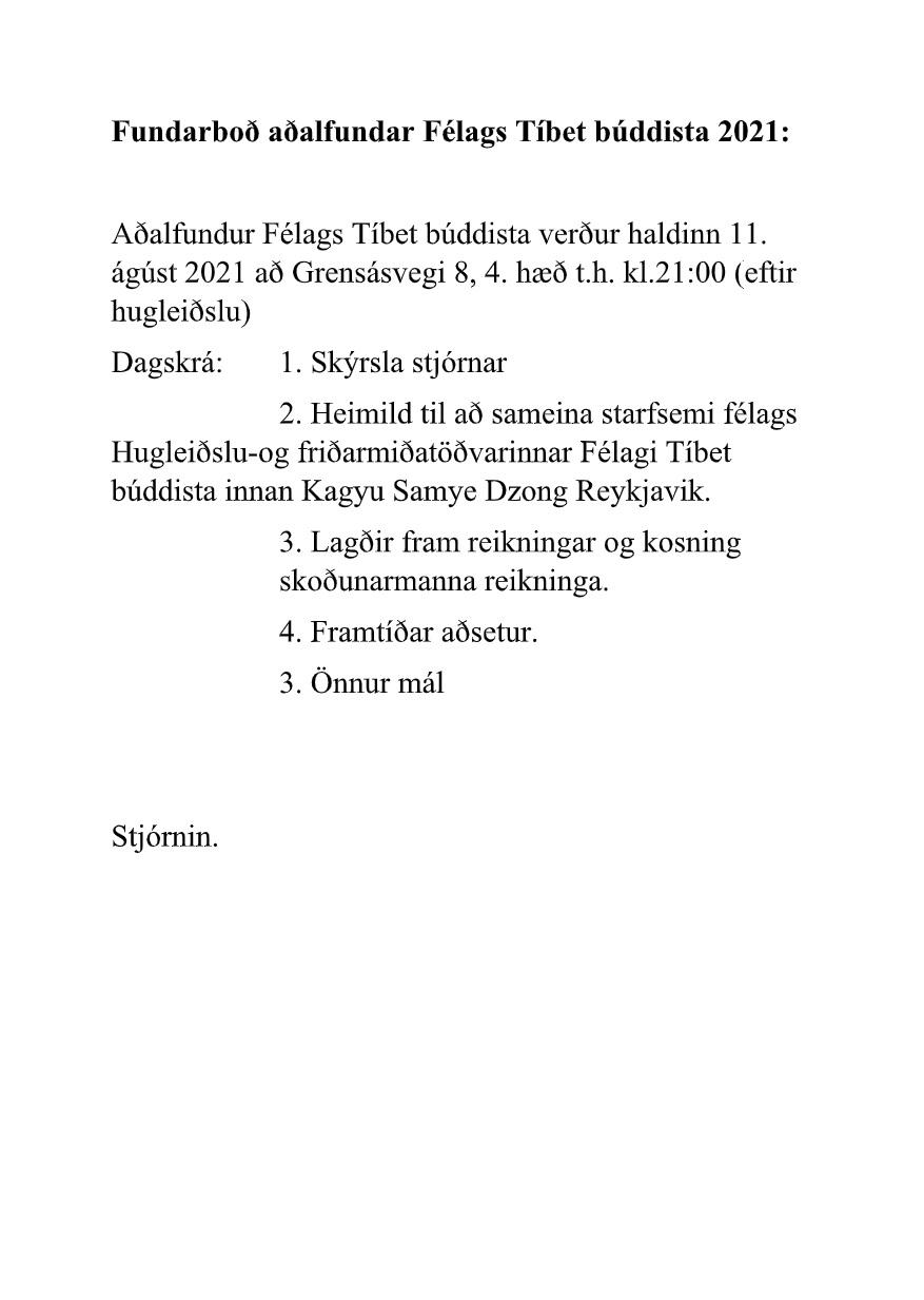 Fundarboð á aðalfund